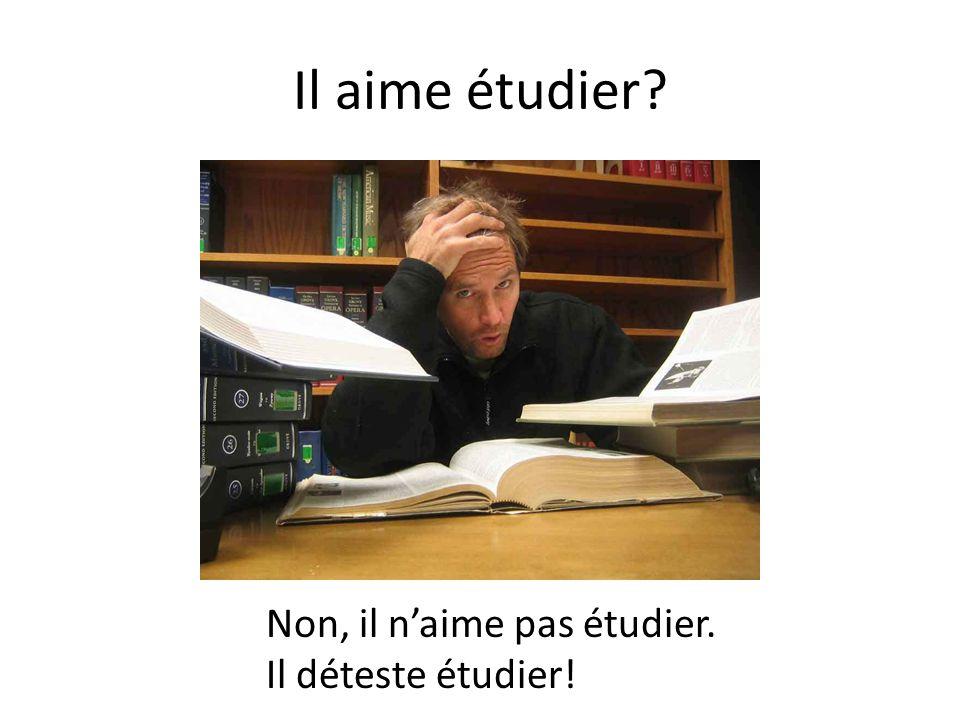 Il aime étudier Non, il n'aime pas étudier. Il déteste étudier!
