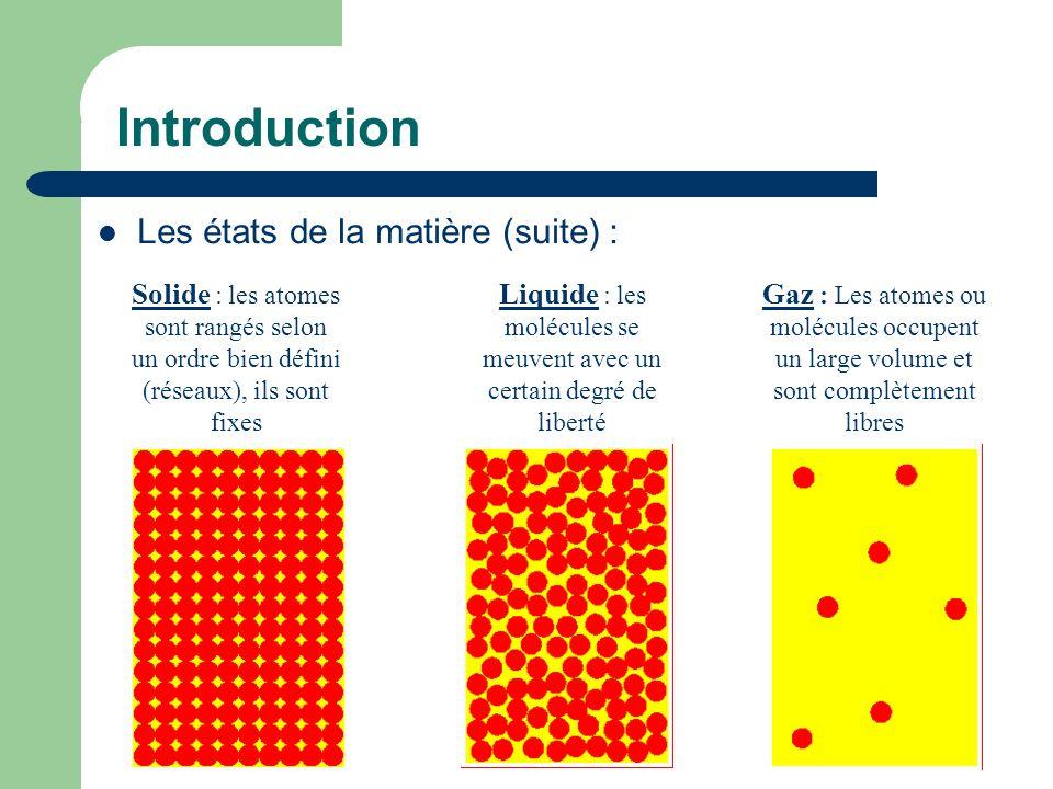 Liquide : les molécules se meuvent avec un certain degré de liberté