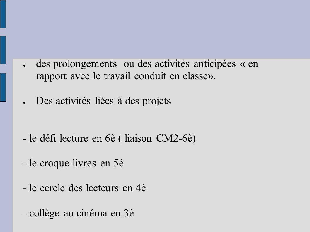 des prolongements ou des activités anticipées « en rapport avec le travail conduit en classe».