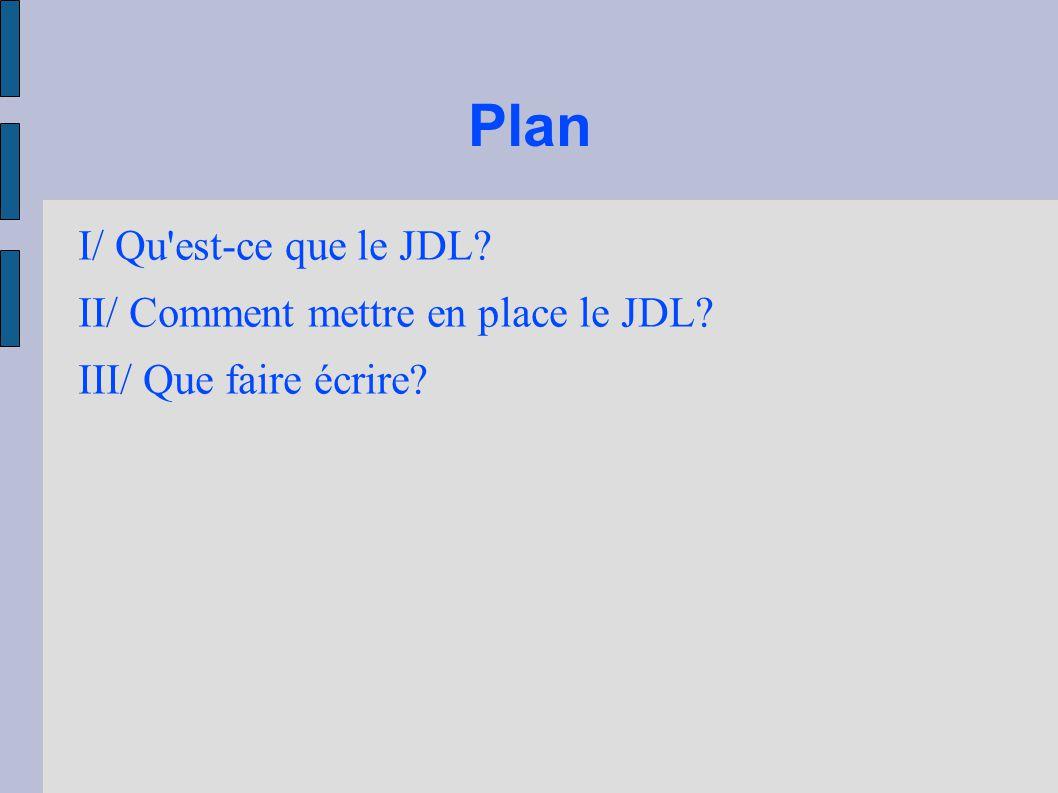 Plan I/ Qu est-ce que le JDL II/ Comment mettre en place le JDL