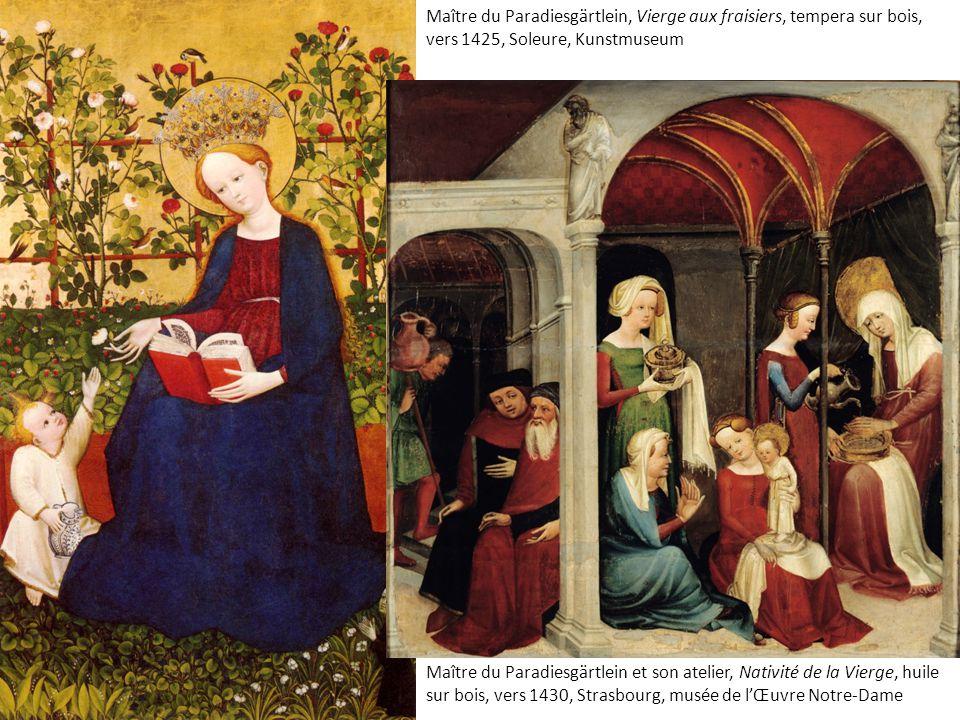 Maître du Paradiesgärtlein, Vierge aux fraisiers, tempera sur bois, vers 1425, Soleure, Kunstmuseum