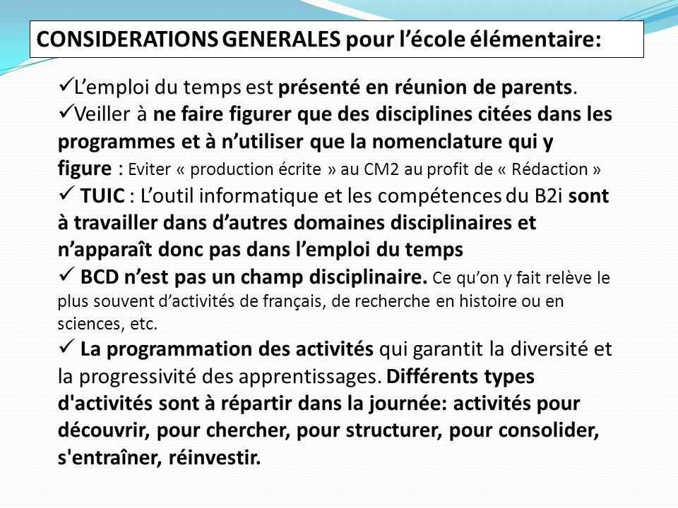CONSIDERATIONS GENERALES pour l'école élémentaire: