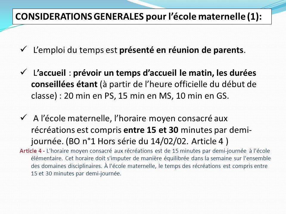 CONSIDERATIONS GENERALES pour l'école maternelle (1):