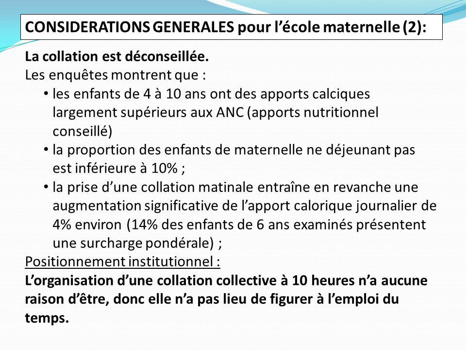 CONSIDERATIONS GENERALES pour l'école maternelle (2):