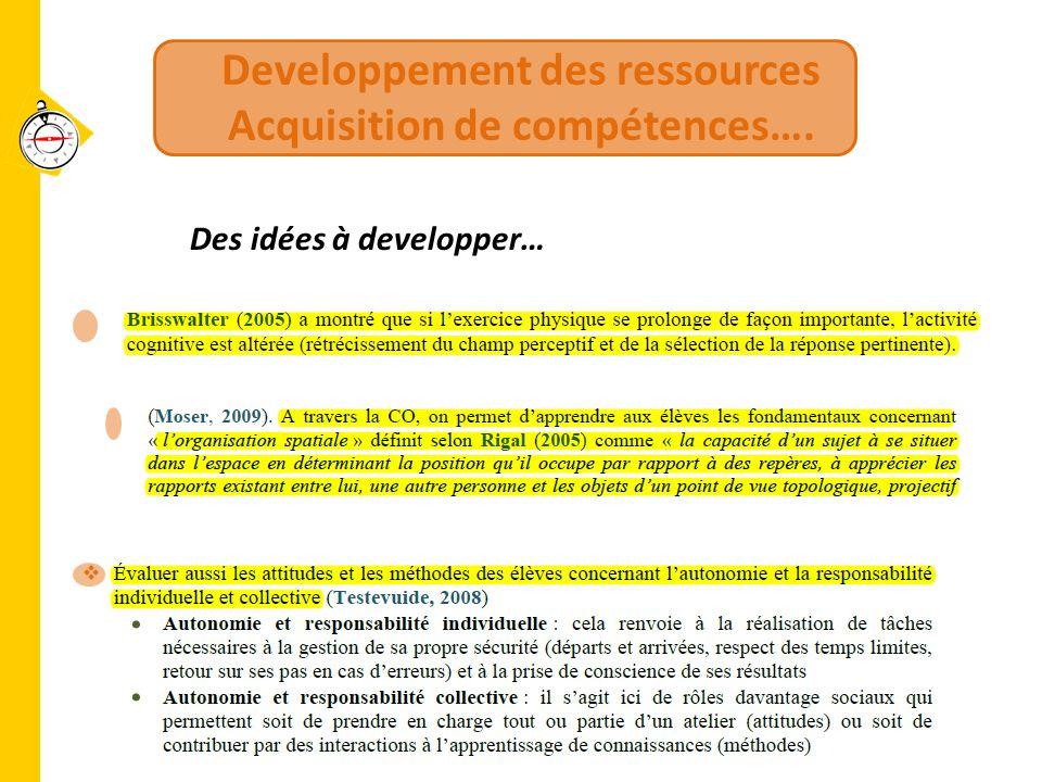 Developpement des ressources Acquisition de compétences….