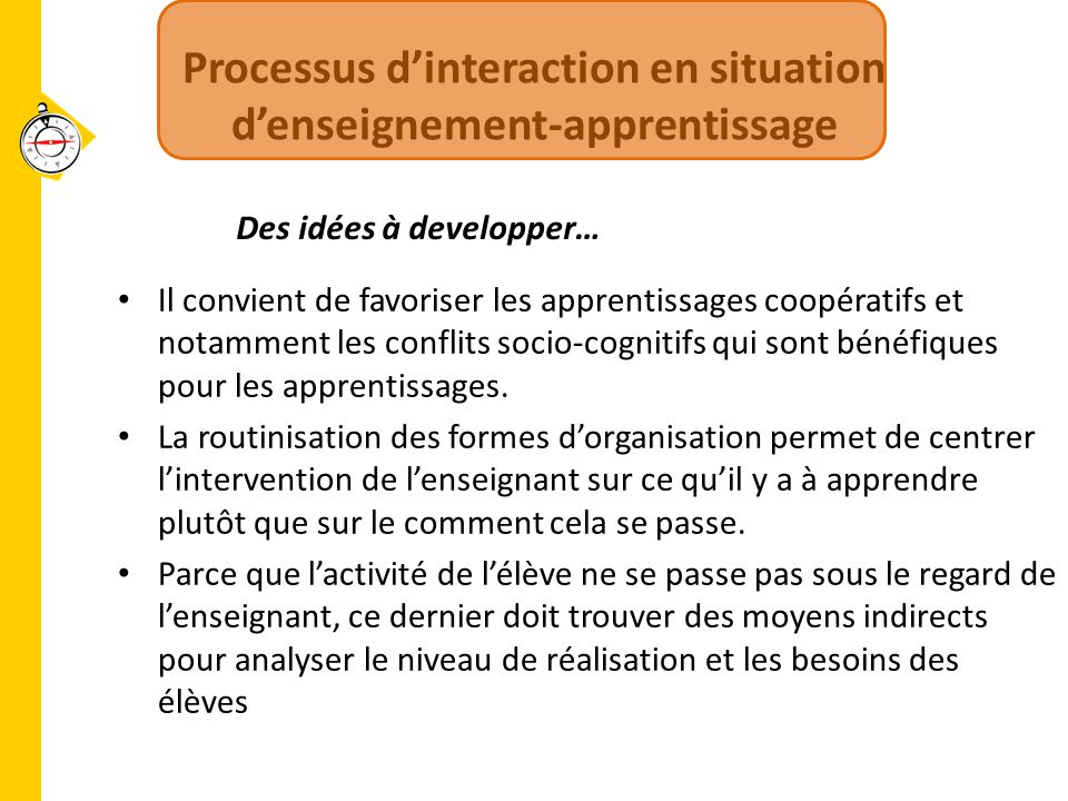 Processus d'interaction en situation d'enseignement-apprentissage