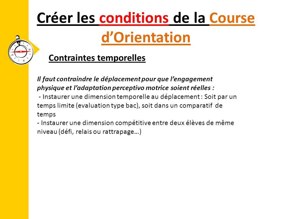 Créer les conditions de la Course d'Orientation