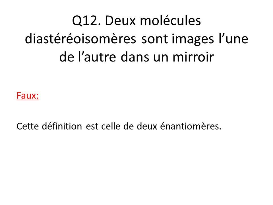 Q12. Deux molécules diastéréoisomères sont images l'une de l'autre dans un mirroir