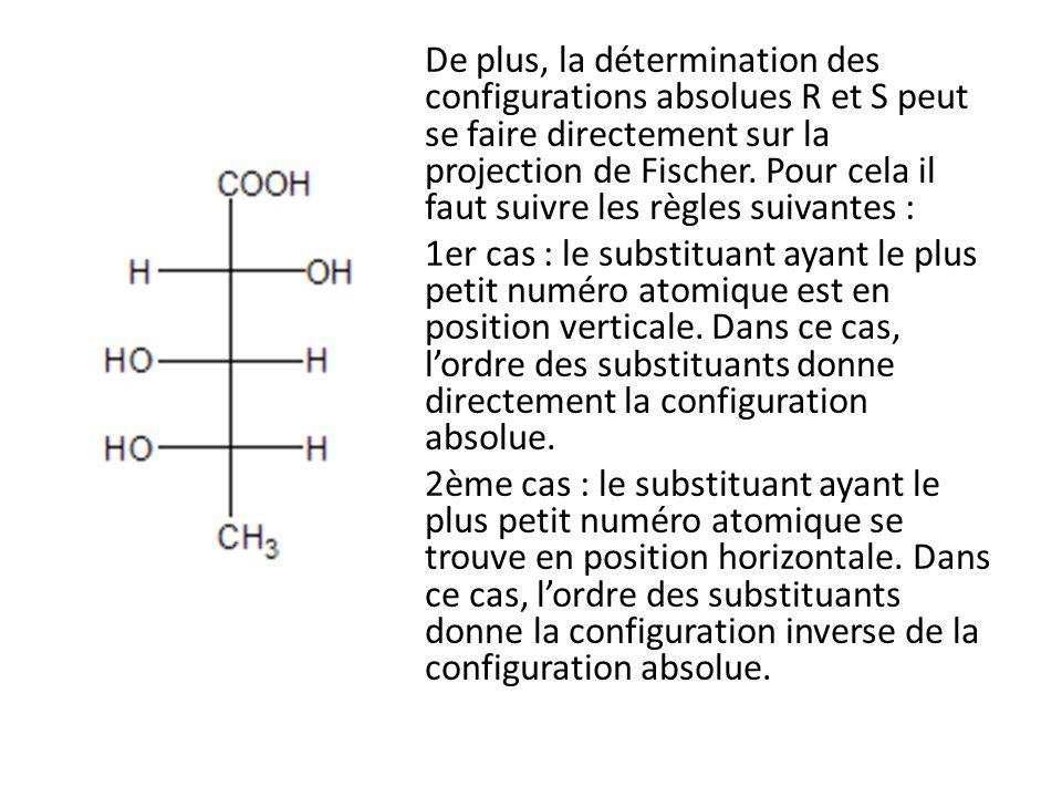 De plus, la détermination des configurations absolues R et S peut se faire directement sur la projection de Fischer.