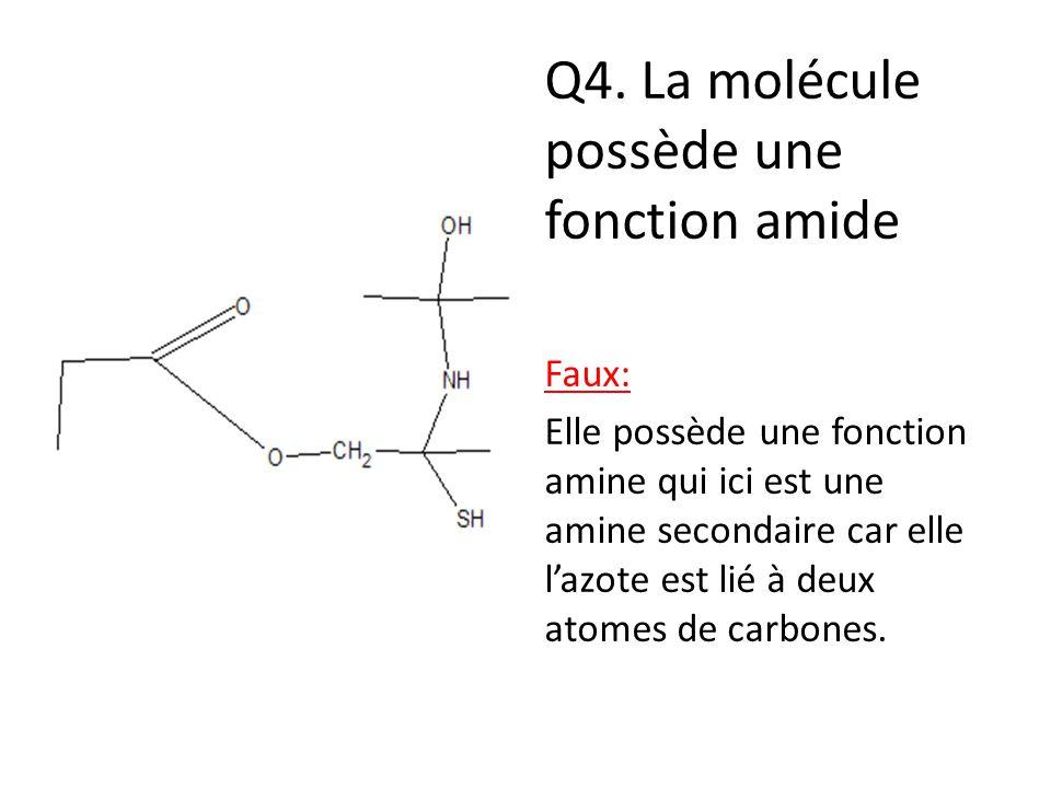 Q4. La molécule possède une fonction amide
