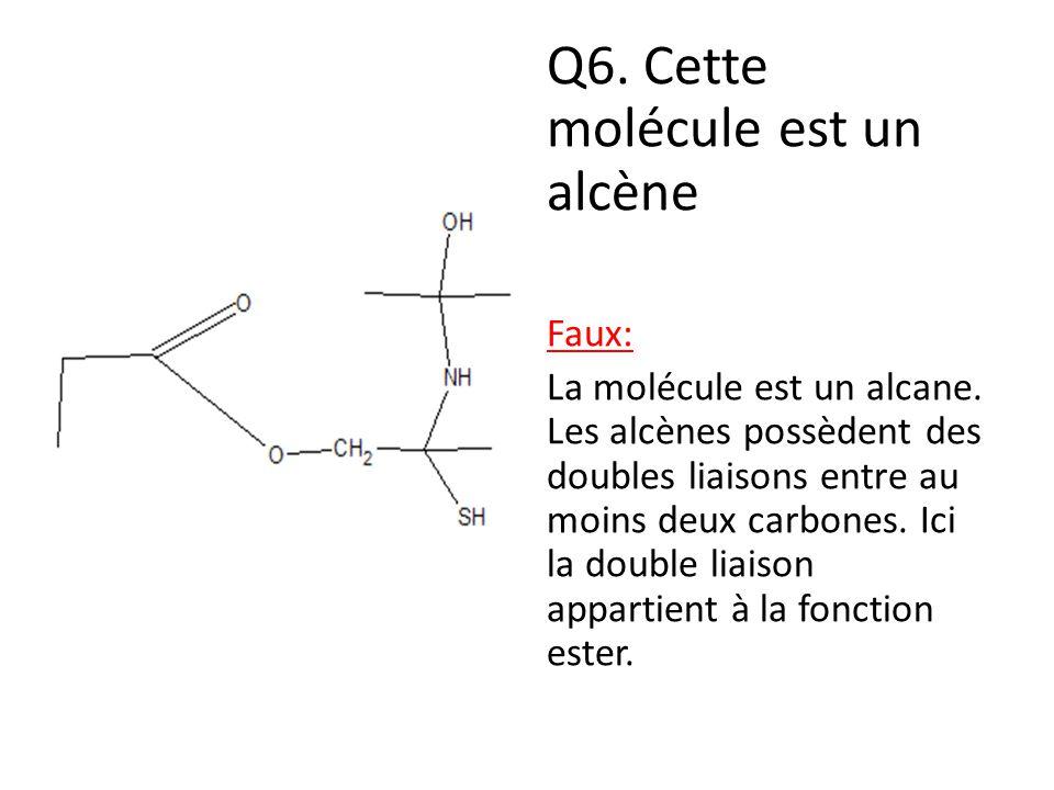Q6. Cette molécule est un alcène