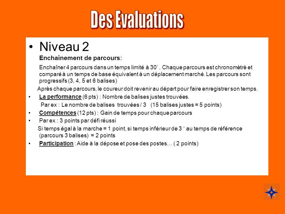 Des Evaluations Niveau 2 Enchaînement de parcours: