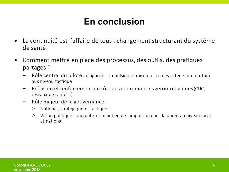 En conclusion La continuité est l'affaire de tous : changement structurant du système de santé.