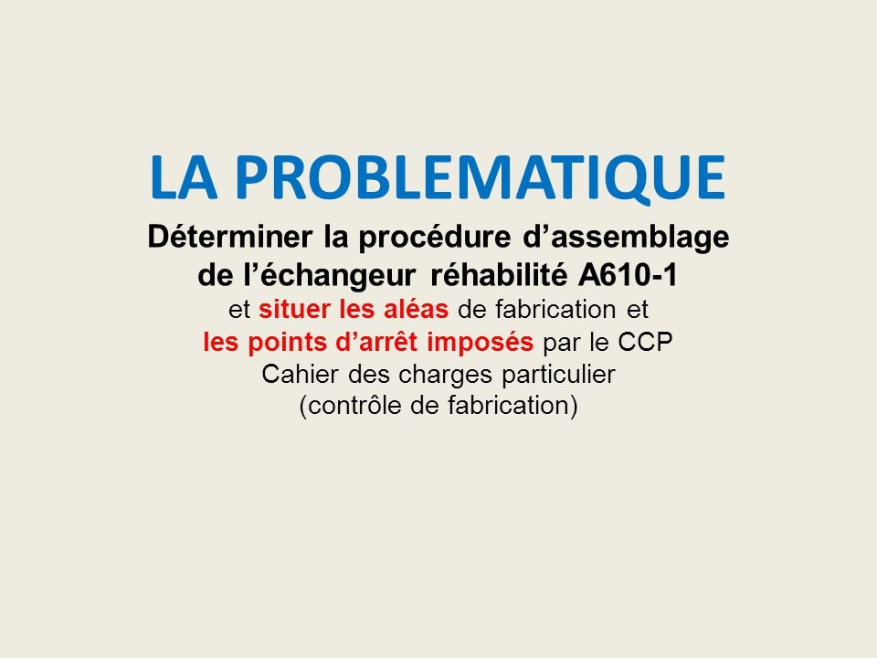 LA PROBLEMATIQUE Déterminer la procédure d'assemblage de l'échangeur réhabilité A610-1