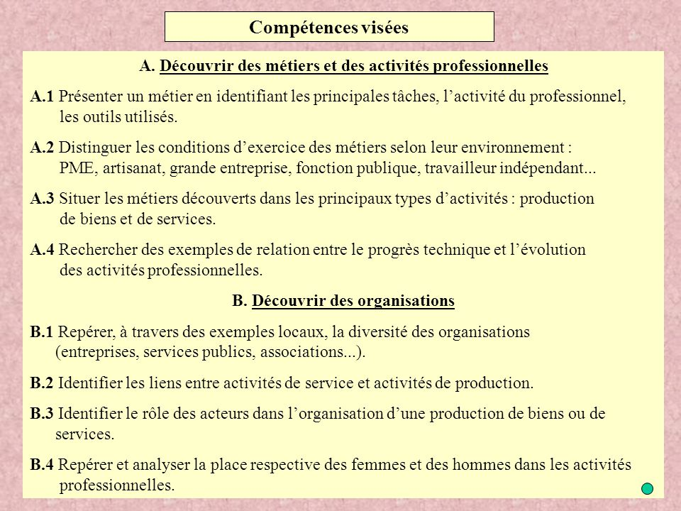 Compétences visées A. Découvrir des métiers et des activités professionnelles.