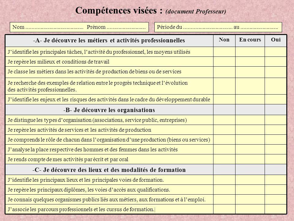 Compétences visées : (document Professeur)