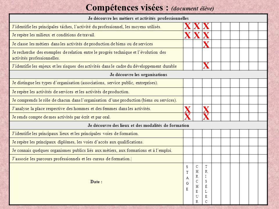 Compétences visées : (document élève)