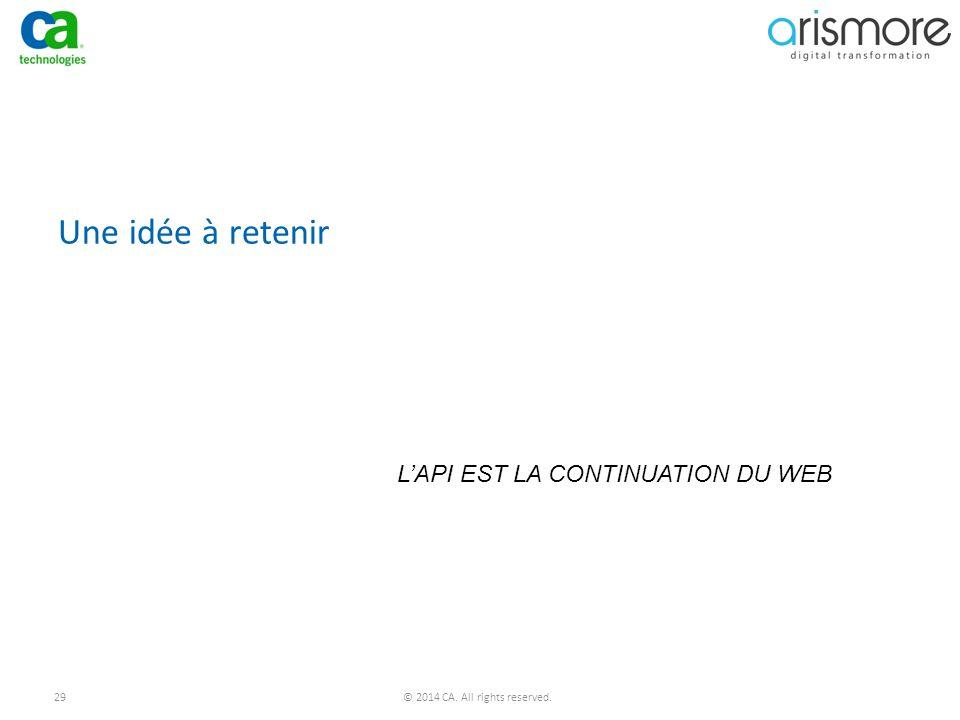 Une idée à retenir L'API EST LA CONTINUATION DU WEB