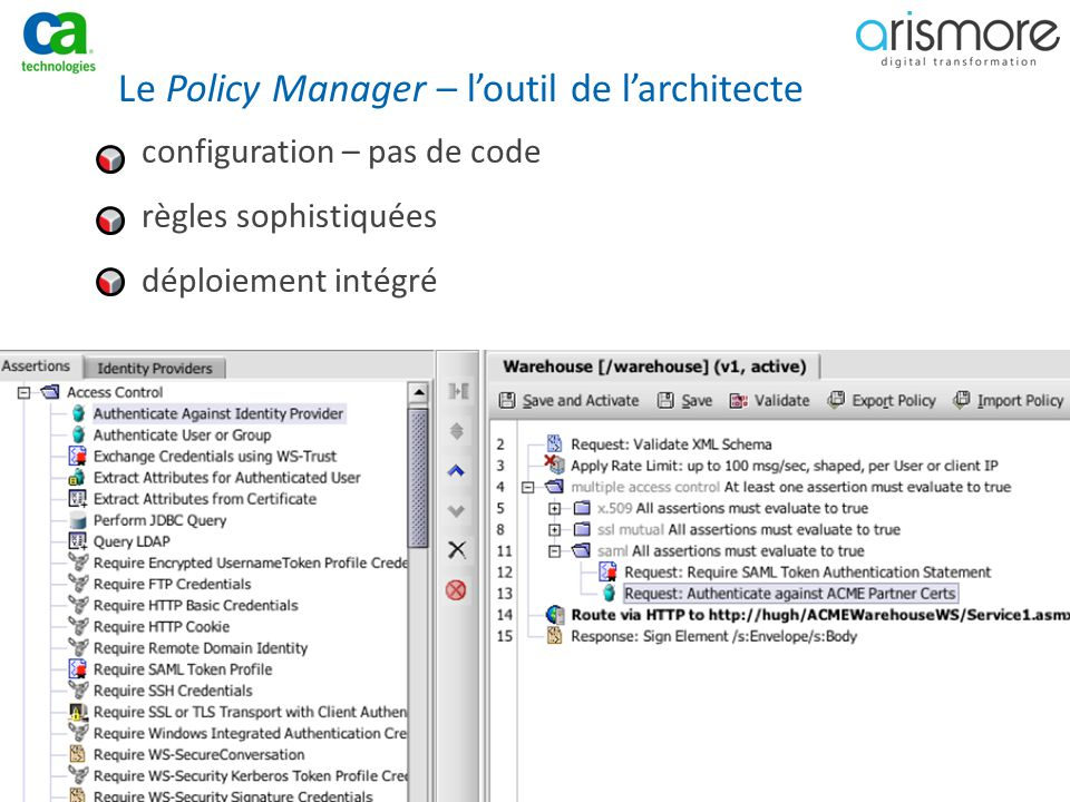 Le Policy Manager – l'outil de l'architecte