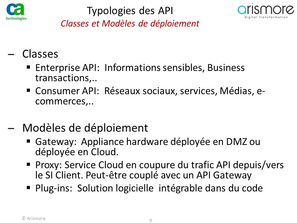 Typologies des API Classes et Modèles de déploiement