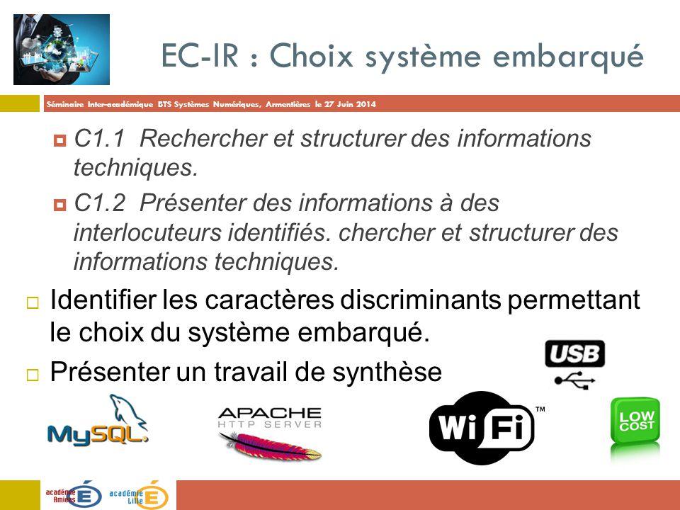 EC-IR : Choix système embarqué