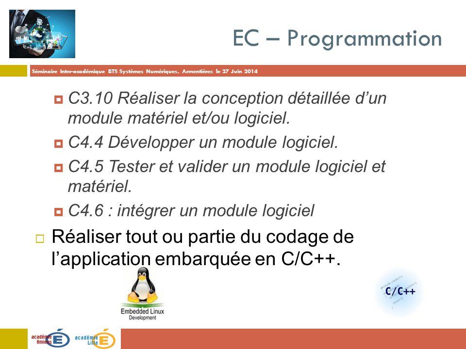 EC – Programmation C3.10 Réaliser la conception détaillée d'un module matériel et/ou logiciel. C4.4 Développer un module logiciel.