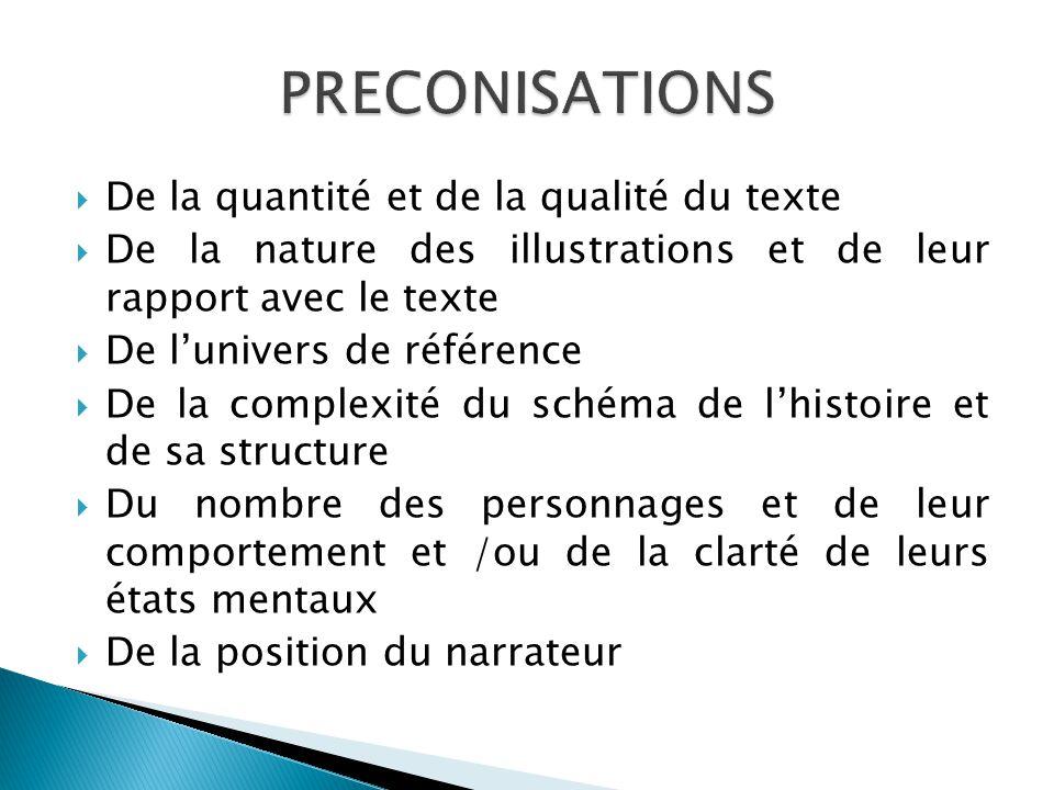 PRECONISATIONS De la quantité et de la qualité du texte
