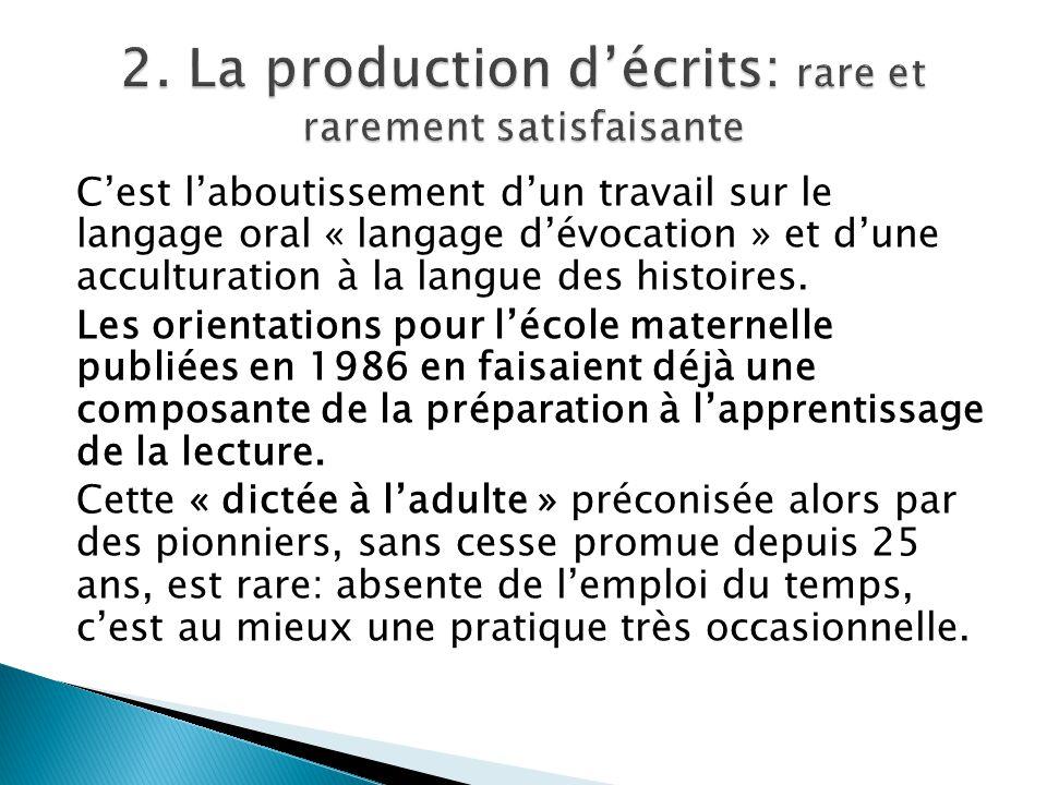 2. La production d'écrits: rare et rarement satisfaisante