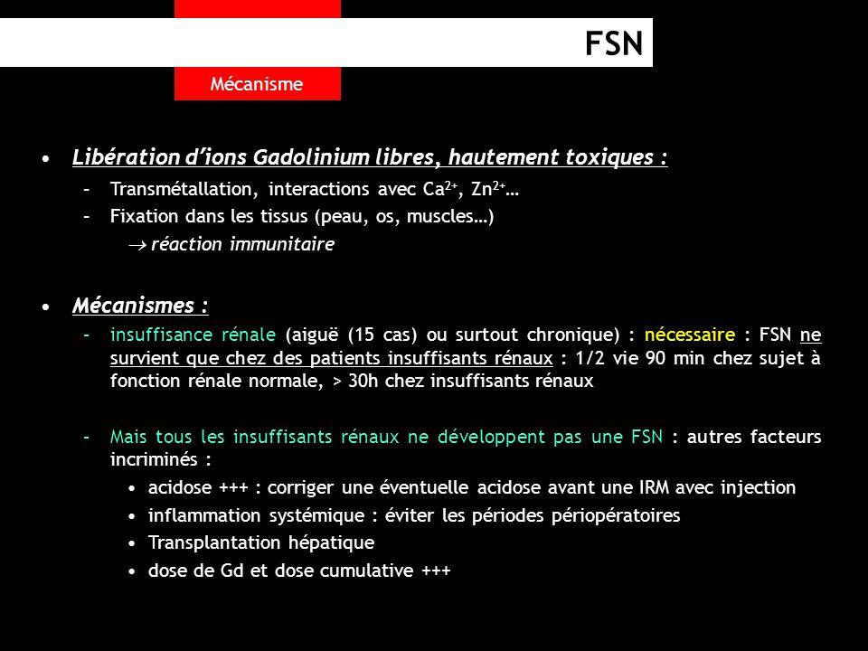 FSN Libération d'ions Gadolinium libres, hautement toxiques :