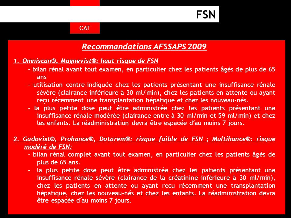 Recommandations AFSSAPS 2009