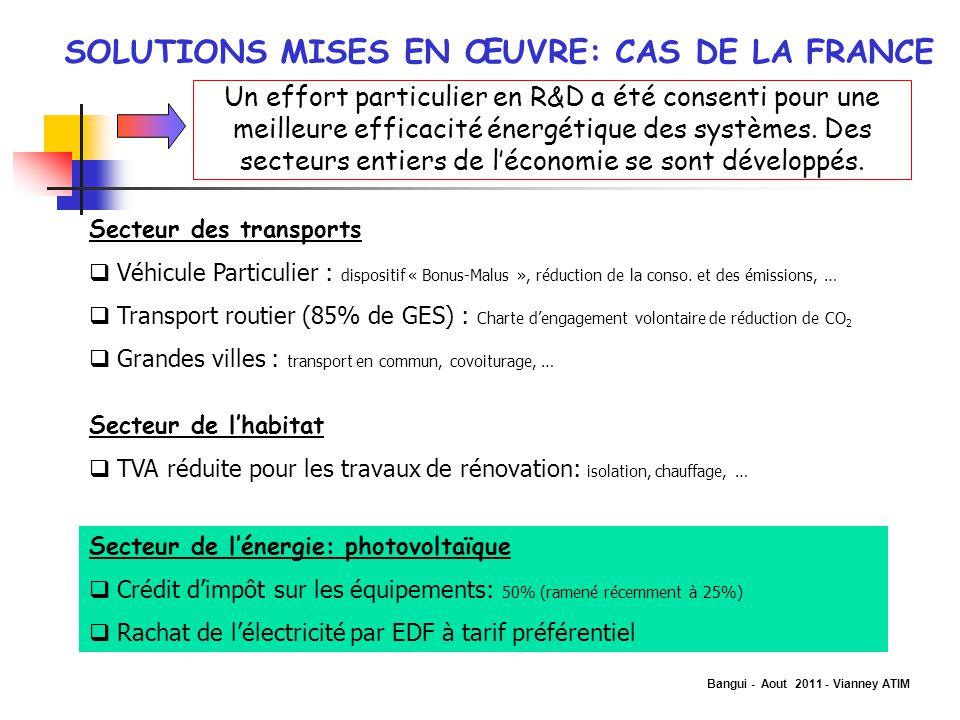 SOLUTIONS MISES EN ŒUVRE: CAS DE LA FRANCE