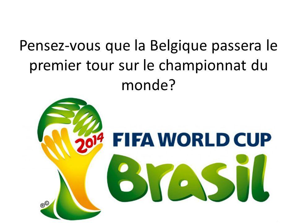 Pensez-vous que la Belgique passera le premier tour sur le championnat du monde