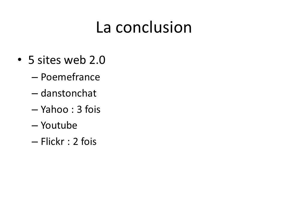 La conclusion 5 sites web 2.0 Poemefrance danstonchat Yahoo : 3 fois