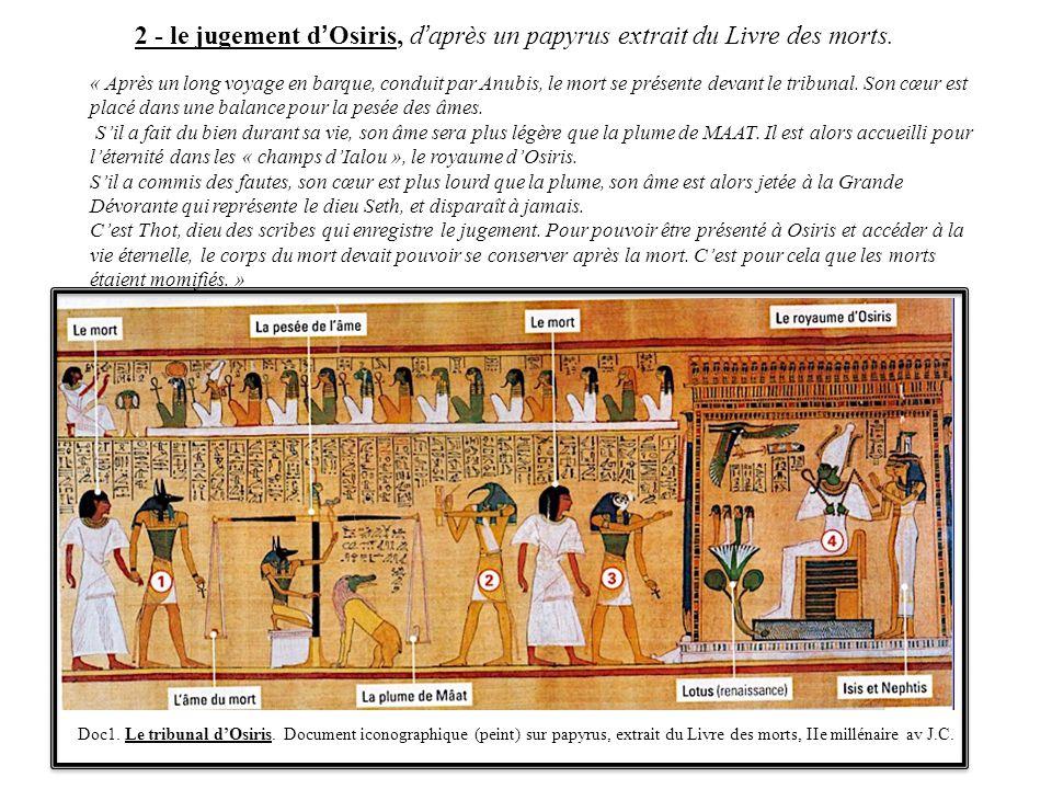 2 - le jugement d'Osiris, d'après un papyrus extrait du Livre des morts.