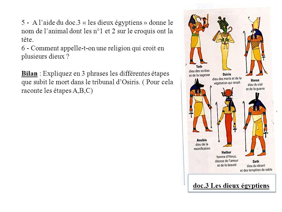 5 - A l'aide du doc.3 « les dieux égyptiens » donne le nom de l'animal dont les n°1 et 2 sur le croquis ont la tête.