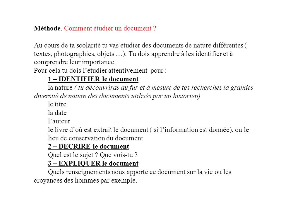 Méthode. Comment étudier un document