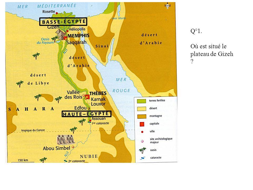 Q°1. Où est situé le plateau de Gizeh