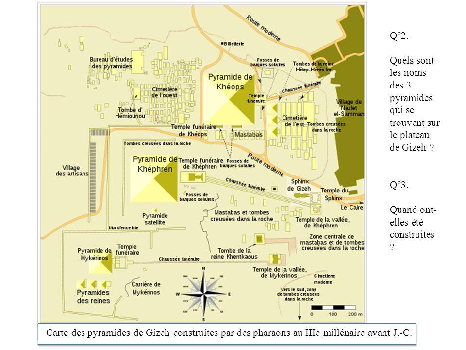 Q°2. Quels sont les noms des 3 pyramides qui se trouvent sur le plateau de Gizeh Q°3. Quand ont-elles été construites