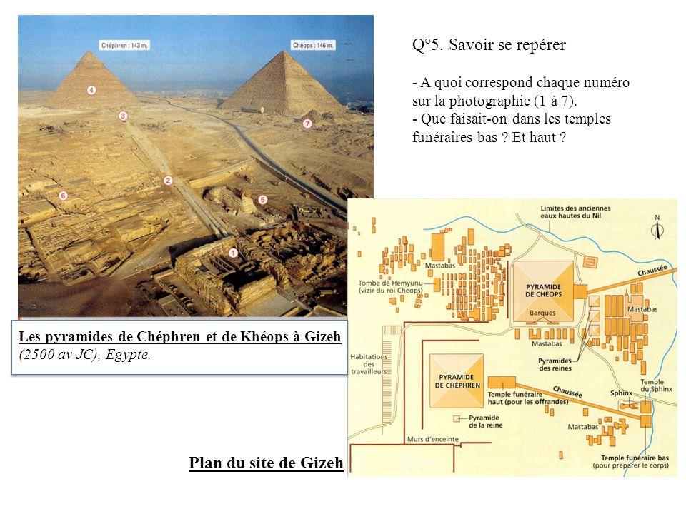 Q°5. Savoir se repérer Plan du site de Gizeh