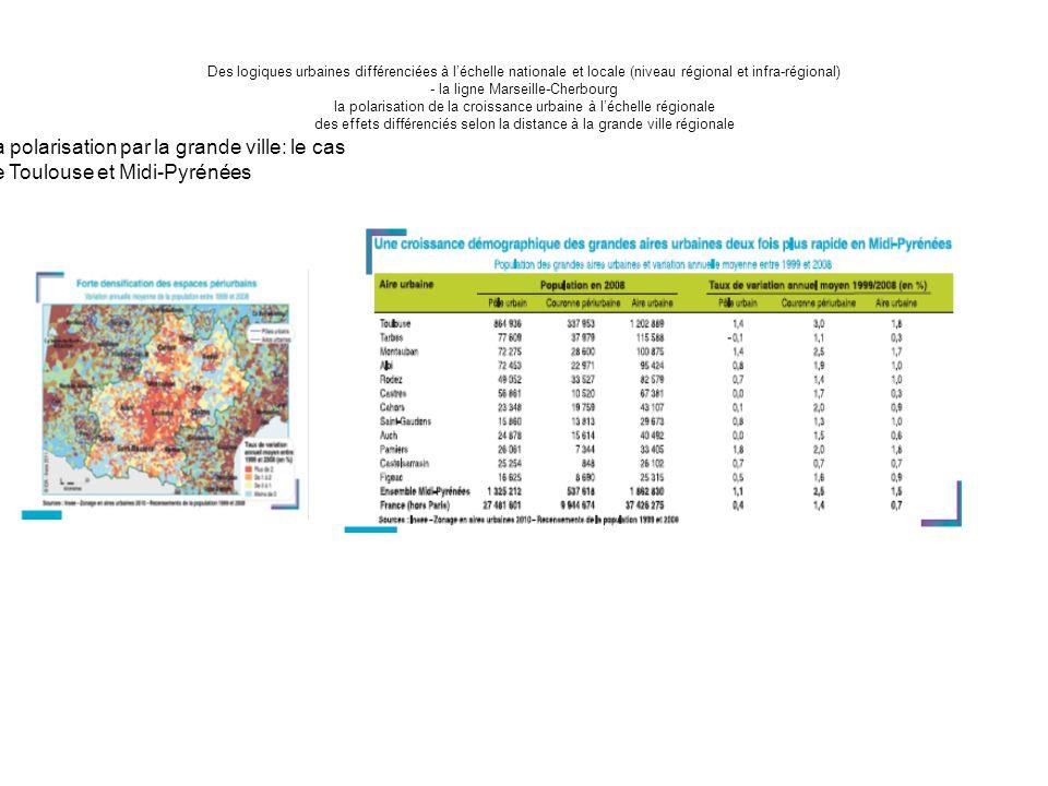 Des logiques urbaines différenciées à l'échelle nationale et locale (niveau régional et infra-régional) - la ligne Marseille-Cherbourg la polarisation de la croissance urbaine à l'échelle régionale des effets différenciés selon la distance à la grande ville régionale