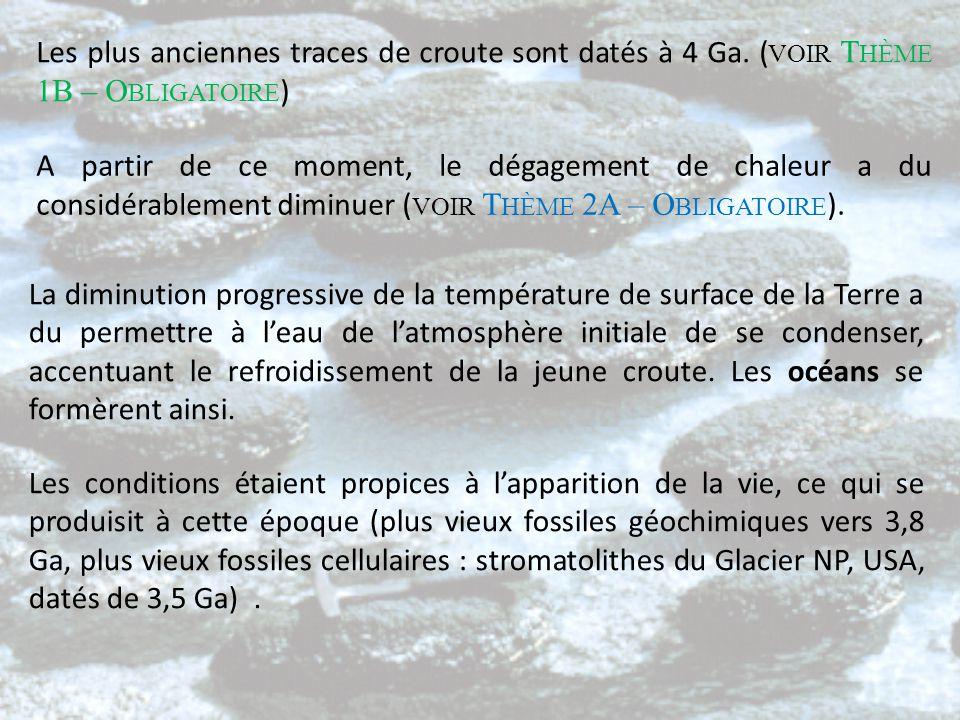 Les plus anciennes traces de croute sont datés à 4 Ga