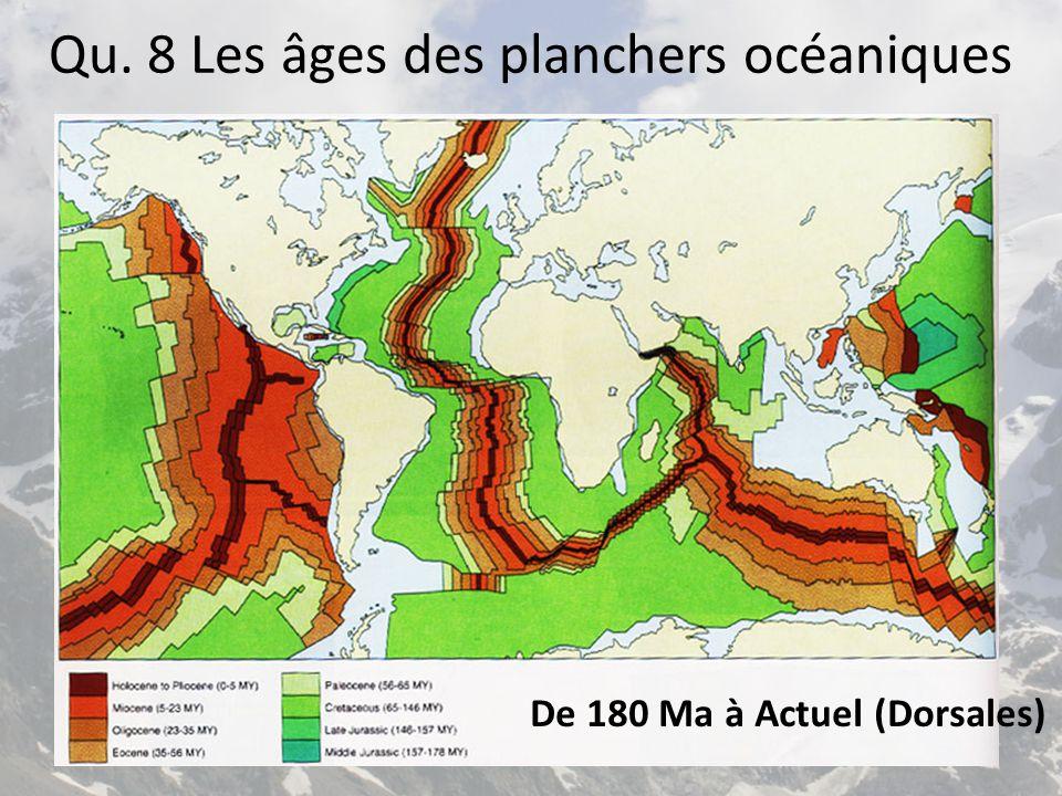 Qu. 8 Les âges des planchers océaniques