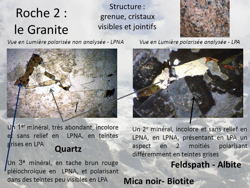 Structure : grenue, cristaux