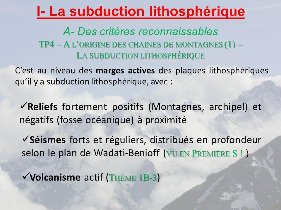 I- La subduction lithosphérique