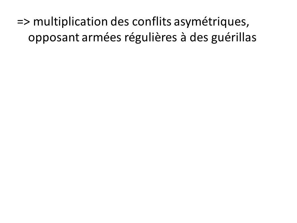=> multiplication des conflits asymétriques, opposant armées régulières à des guérillas