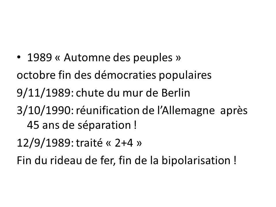 1989 « Automne des peuples » octobre fin des démocraties populaires. 9/11/1989: chute du mur de Berlin.