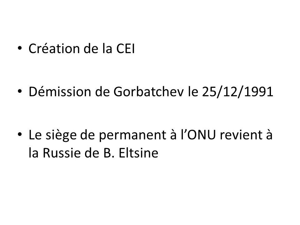 Création de la CEI Démission de Gorbatchev le 25/12/1991.