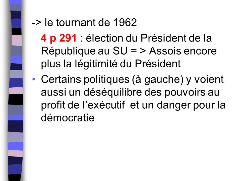 -> le tournant de 1962 4 p 291 : élection du Président de la République au SU = > Assois encore plus la légitimité du Président.