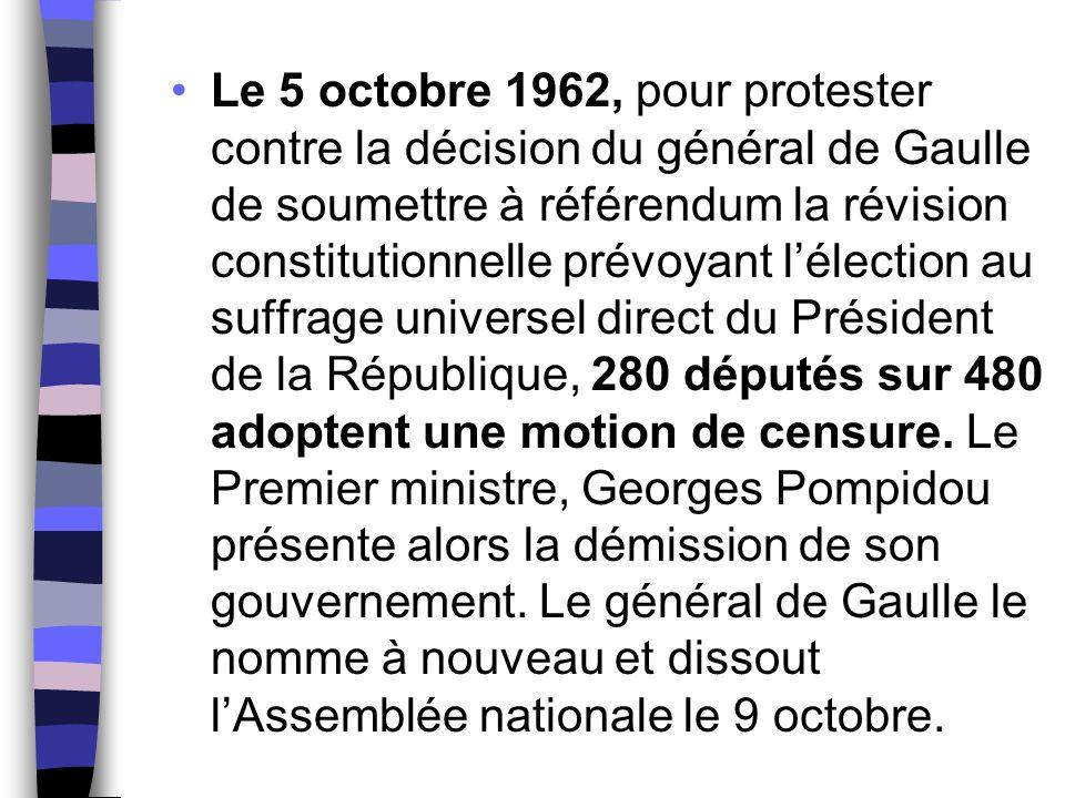 Le 5 octobre 1962, pour protester contre la décision du général de Gaulle de soumettre à référendum la révision constitutionnelle prévoyant l'élection au suffrage universel direct du Président de la République, 280 députés sur 480 adoptent une motion de censure.