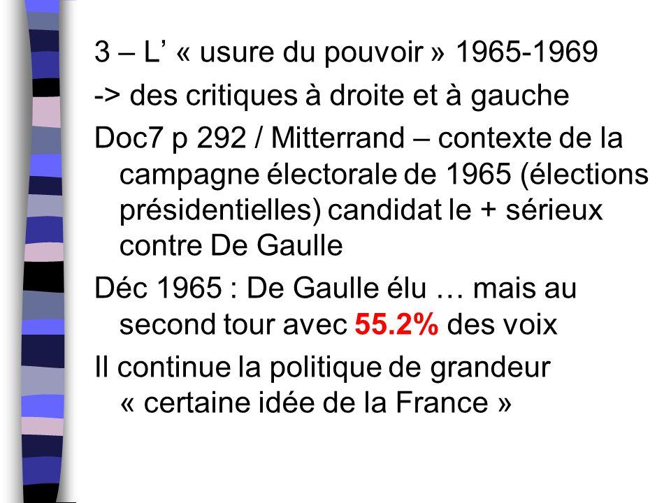 3 – L' « usure du pouvoir » 1965-1969
